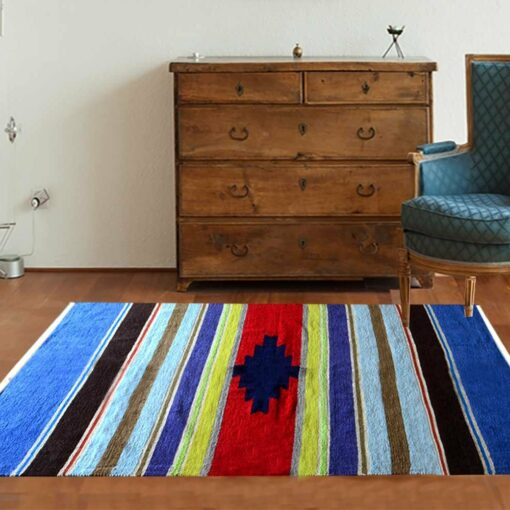 Cotton and Chenille Multicolor Handloom Durries 4 X 6 Feet by Avioni