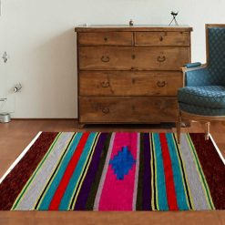 Cotton and Chenille Multicolor Handloom Dhurries 4 X 6 Feet by Avioni
