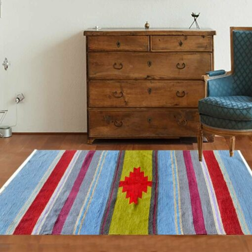 Handloom Cotton and Chenille Multicolor Durries 4 X 6 Feet by Avioni