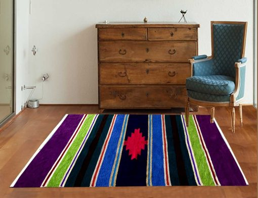 Multicolor Cotton and Chenille Handloom Durries 4X6 Feet by Avioni