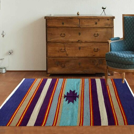 Multicolor Handloom Cotton and Chenille Durries 4 X 6 Feet by Avioni