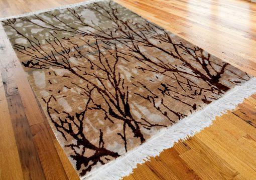 Hand Knotted Premium Bamboo Silk Beige walk in the Wood Carpet  4X6 feet by Avioni