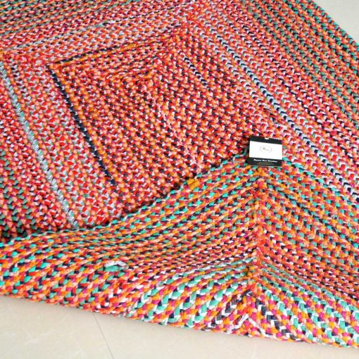 Rag Rug - Braided Rugs in Cotton Chindi -  Contemporary Colorful Design - Handmade - Reversible - 3 X 5 feet - Avioni Premium Eco Collection