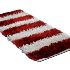 Diwali Special Pooja Mat/ Bed Side Runner /Shaggy Rugs(56 X 140 cm) Red And White By Avioni