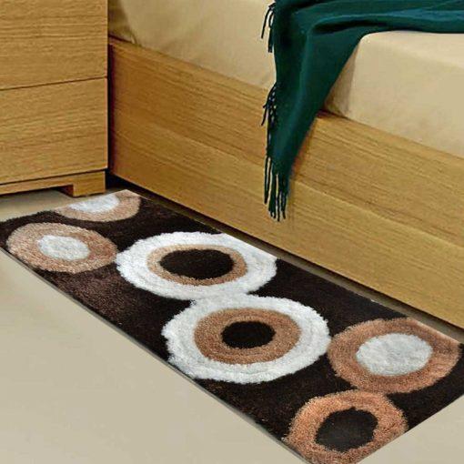 Handloom Shaggy Coffee Stones Premium Bedside Runner/Carpet (22X55 Inch) By Avioni