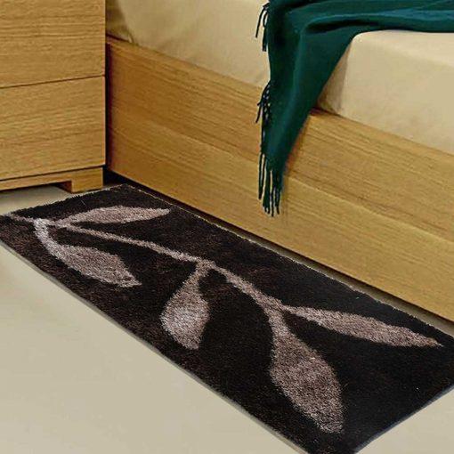 Handloom Shaggy Coffee Leaves Premium Bedside Carpet (22X55 Inch) By Avioni