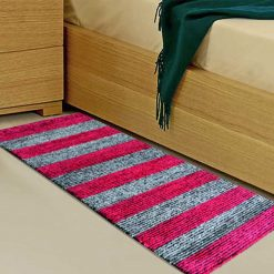 Avioni Handloom Pink And Gray Solid Premium Bedside Carpet (22X55 Inch)