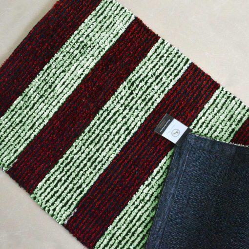Avioni Handloom Red And Light Green Solid Premium Bedside Carpet (22X55 Inch)