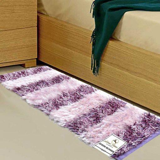 Avioni Handloom Purple Plain Solid Premium Bedside Carpet (22X55 Inch)