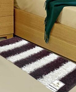 Avioni Handloom White & Wine Color Plain Solid Premium Bedside Carpet (22X55 Inch)
