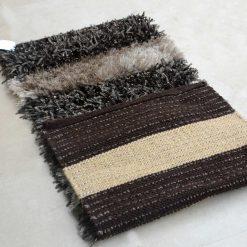Avioni Handloom Dark Brown & Biege Plain Solid Premium Bedside Carpet (22X55 Inch)