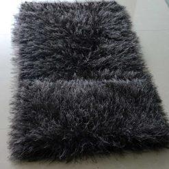 Avioni Handloom Grayish- Black Plain Solid Premium Bedside Carpet (22X55 Inch)