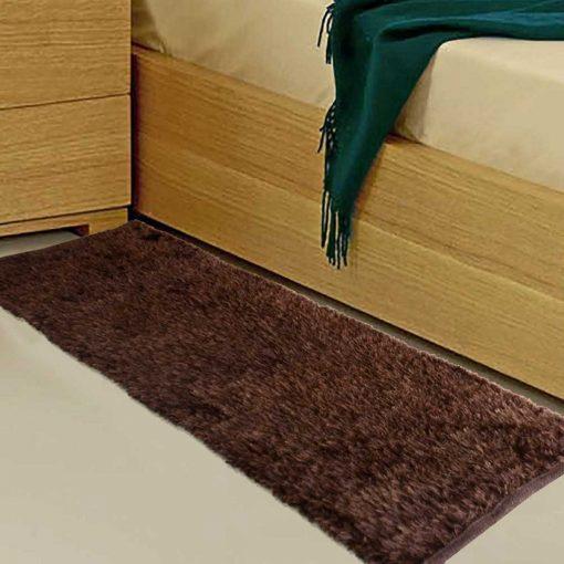 Avioni Handloom Coffee Plain Solid Premium Bedside Carpet (22X55 Inch)