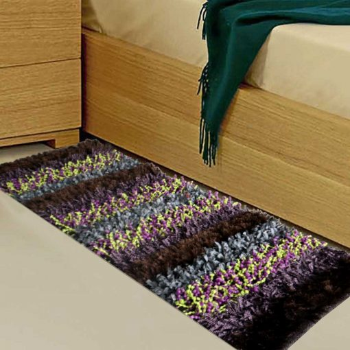 Avioni Handloom Multi Color Plain Solid Premium Bedside Carpet (22X55 Inch)