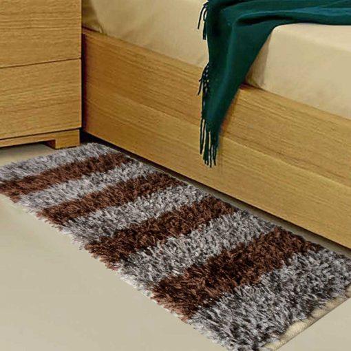 Avioni Handloom Brown & Silver Color Plain Solid Premium Bedside Carpet (22X55 Inch)