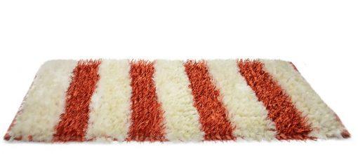 Buy Shaggy Runner( 2x5 feet ) In Orange with White Handloom By Avioni