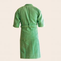 Loomkart Very Fine 100% Cotton Export Quality Bath Robes in Green in Avioni Zip-Packing- Standard Size