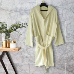 Bathrobes With Hood 100% Cotton Fine Quality in White Cream Color by Avioni