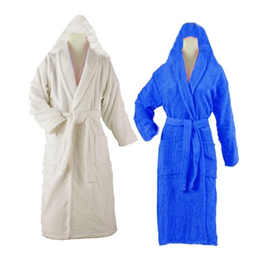 Bathrobes With Hood 100% Cotton Unisex (set of 2 ) Multicolor