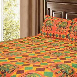 Avioni Double Bed Sheet Ethnic Print Multicolor in Kantha Work