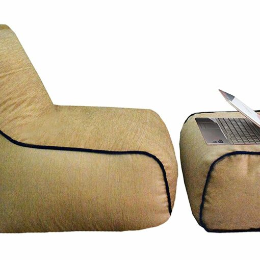BIGMO Designer Bean Bags Comfy Stylish Chair XXXL With Matchig Foot Rest Without Beans Cotton-Chenille In Beige and Blue Border
