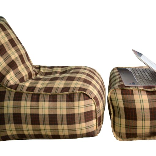 BIGMO Designer Bean Bag Lounger Extra Soft Without Beans In Brown Check 100% Cotton - XXXL