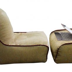 BIGMO Designer Bean Bag Lounger Extra Soft Without Beans In Beige with Border Chenille