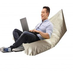 BIGMO Twist Bean Bag Lounger In Ivory Without Beans 100% Cotton In Faux Leather in Medium Size
