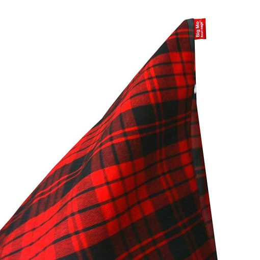 BIGMO Designer Bean Bag Lounger Extra Soft Without Beans In Red And Black Check 100% Cotton - XXXL