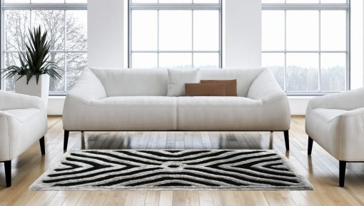 Shag Carpets For Living Room – contemporary Shaggy Black Carpet With Grey 3D Design Area Rug by Avioni