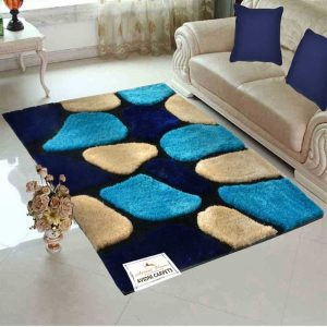 """Designer Rugs From Avioni - Shaggy Modern Rugs with """"Stones on Blue Background"""" Design  -  Best Seller - 6X9 ft  @ Avioni Factory Price"""