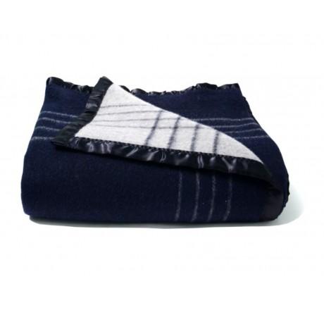 Avioni Home Premium Wool Rich Blue And Grey Reversible Wool Blankets