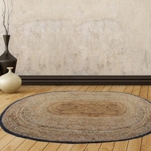 Jute Mat - Oval - Natural Braided Area Rug With Black Border - Handmade & Unbleached -90 X 134 cms - Premium Rugs By Avioni