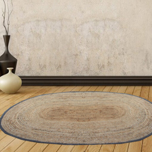 Jute Mat - Oval Design - Natural Rugs - Braided Area Rug With Grey Border - Handmade & Unbleached -94 X 138 cms - Avioni Premium Collection