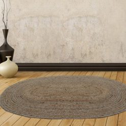 Jute Mat – Oval Design – Natural Rugs – Braided Area Rug With Grey Border – Handmade & Unbleached -84 X 132 cms – Avioni Premium Collection
