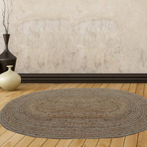 Jute Mat - Oval Design - Natural Rugs - Braided Area Rug With Grey Border - Handmade & Unbleached -84 X 132 cms - Avioni Premium Collection