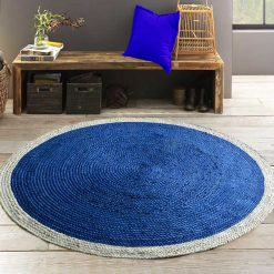 Jute Mat – Round Braided Area Rugs  – Cool Blue Centre  – Handmade – 5 feet Diameter – Avioni Premium Eco Collection