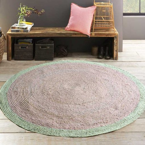Jute Mat – Round Braided Area Rugs  – Light Pink – Modern Look – Handmade -5 feet Diameter – Avioni Premium Eco Collection