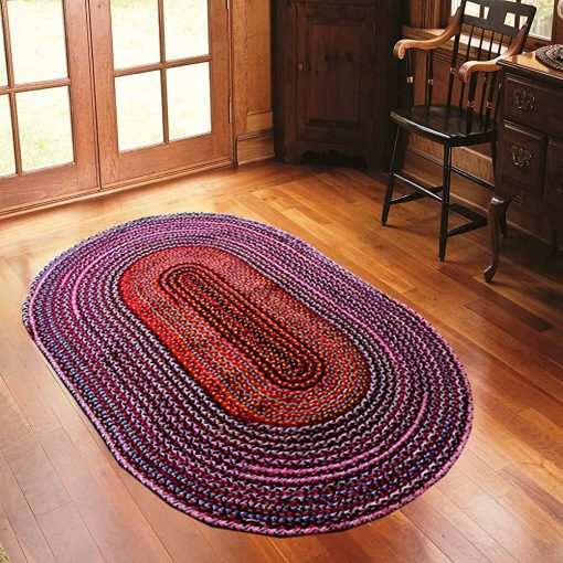 Rag Rug – Cotton Chindi Modern Area Rugs  – Braided -Handmade – Reversible – Oval – 37 x 60 inches – Avioni Premium Eco Collection – Best Seller