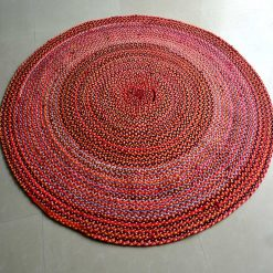 Rag Rug – Cotton Chindi Modern Area Rugs  – Braided – Handmade – Reversible – 4 feet Round – Avioni Premium Eco Collection – Best Seller
