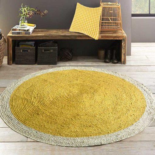 Jute Mat – Braided Area Rugs  – Modern Rug In Sunflower Yellow – Handmade – 5 feet Diameter Round – Avioni Premium Eco Collection
