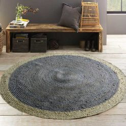 Jute Mat – Braided Rug In Grey – Handmade – 5 feet Diameter Round – Avioni Premium Eco Collection