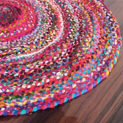Rag Rug in Colorful Chindi – Braided – Contemporary Colorful Design – Reversible – 3.5 feet Round – Avioni Premium Eco Collection – Best Seller00