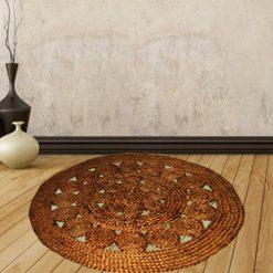 Jute Mat – Natural Round Braided Area Rugs in Beautiful Design – Handmade & Unbleached -110 cm Diameter – Avioni Premium Eco Collection – Best Seller