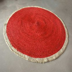 Jute Mat – Braided Area Rugs  –  Rug In Eclectic Red – Handmade -Avioni Premium Eco Collection-122 CM