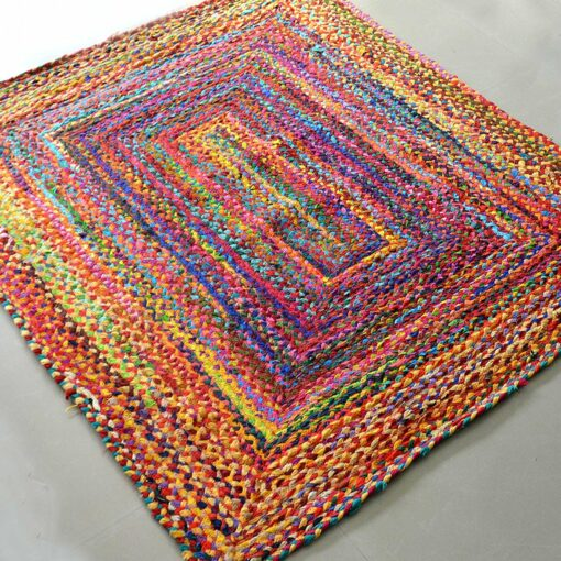Rag Rugs - Braided Rug in Colorful Cotton Chindi - Contemporary Colorful Design - Reversible - 4 X 6 feet - Avioni Premium Eco Collection - Best Seller