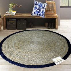 Jute Mat – Braided Area Rug With Cotton Black Border – Natural  -Handmade & Unbleached – 5 feet Round – Avioni Premium Eco Collection