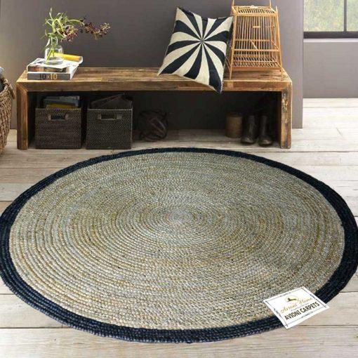 Jute Mat – Natural Rugs – Braided Area Rug – Black Border – Handmade & Unbleached – 5 feet Round – Avioni Premium Eco Collection
