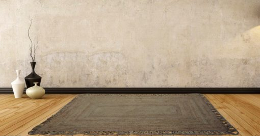Jute Mat - Natural Rugs - Braided Area Rug - Natural - Wave Border- Handmade & Unbleached - 115 X 172 cm - Avioni Premium Eco Collection