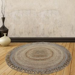 Jute Mat – Natural Rugs – Braided Area Rug – Wave Border- Handmade & Unbleached – 130 cm Round- Avioni Premium Eco Collection